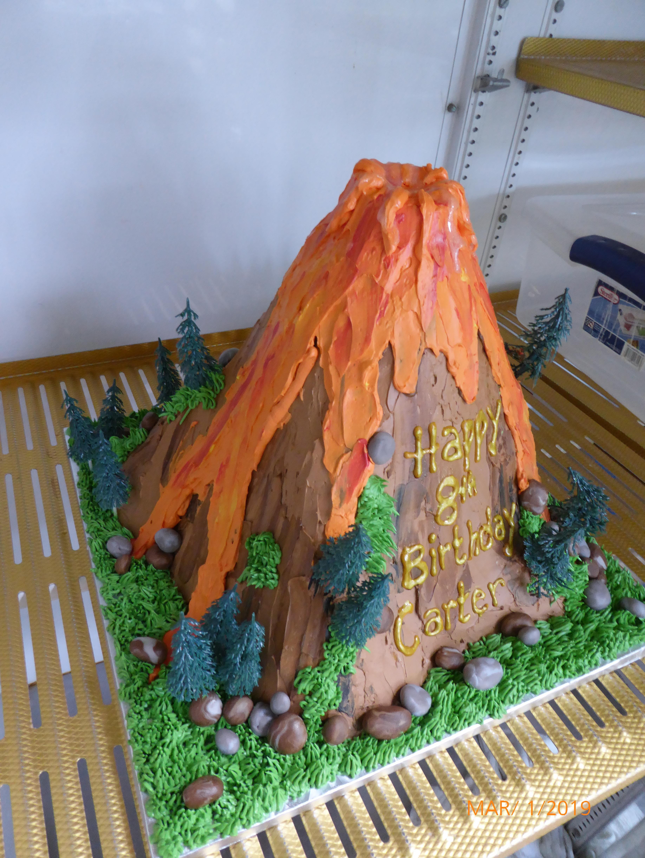 3174, 8th birthday, eighth birthday, volcano, forest, tree, trees, rock, rocks, lava, eruption, carved