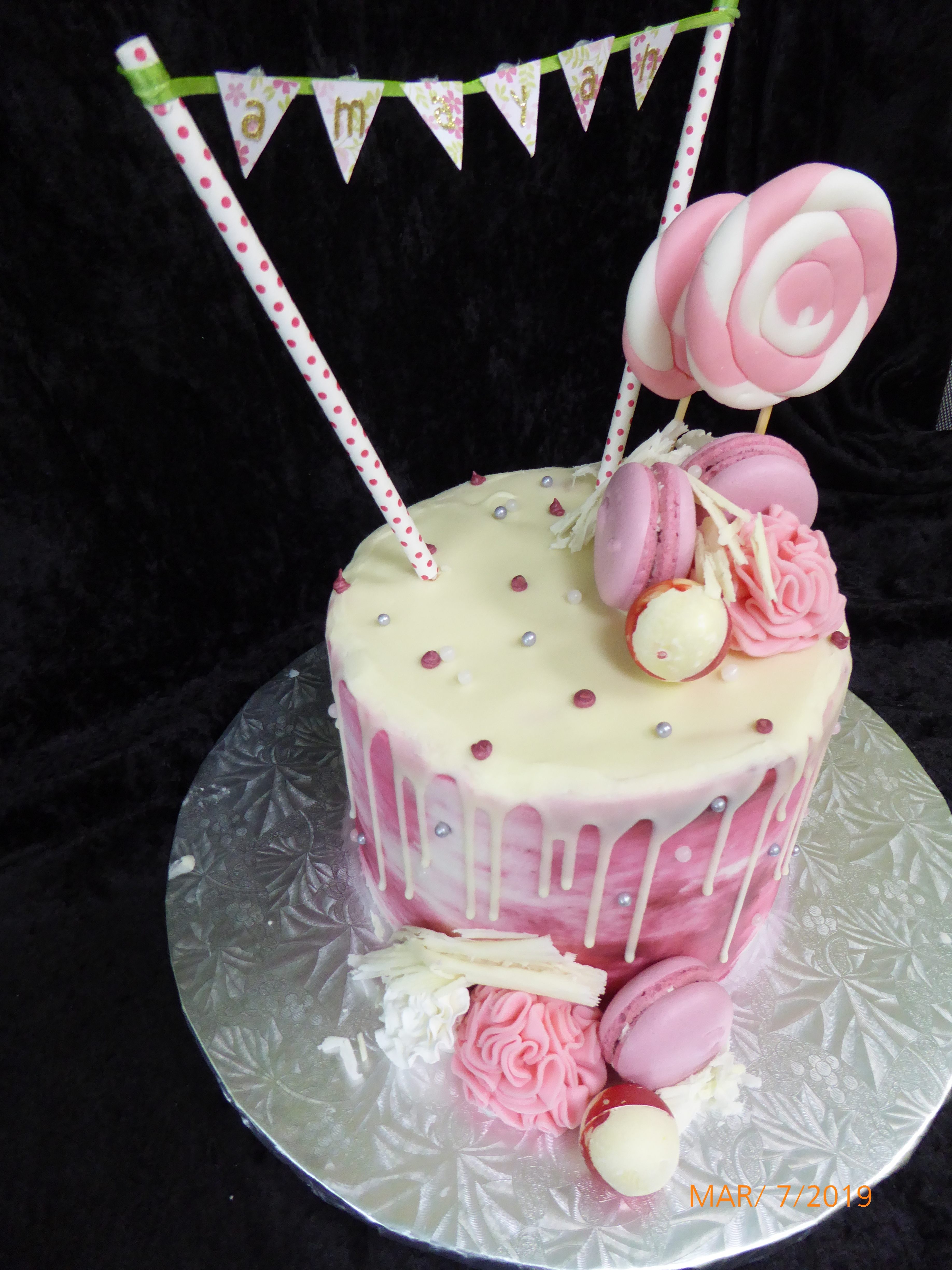 3177, birthday, pink, white, banner, topper, cookie, cookies