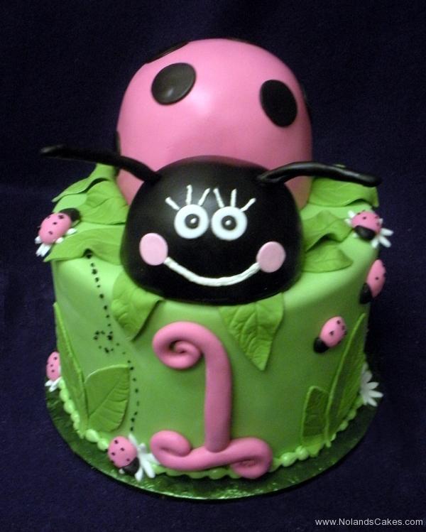 2075, first birthday, 1st birthday, ladybug, lady bug, pink, black, leaves, leaf, flower, flowers,  green, carved
