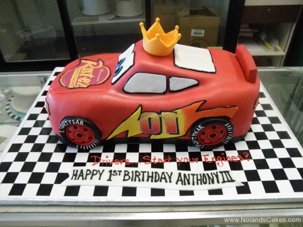 2099, 1nd birthday, first birthday, crown,  lightning mcqueen, cars, car, red, race, racecar, carved, edible image