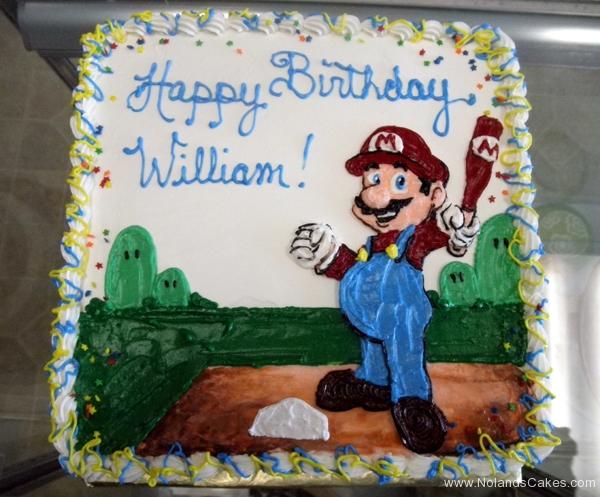 2124, birthday, mario super sluggers, baseball, plate, blue, red