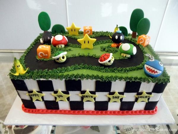 2129, 4th birthday, fourth birthday, mario, mario kart, race, banana peel, mushroom, bomb, green, grass, tree, trees