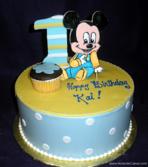 2157, first birthday, 1st birthday, mickey mouse, baby mickey, disney, cupcake, blue, yellow