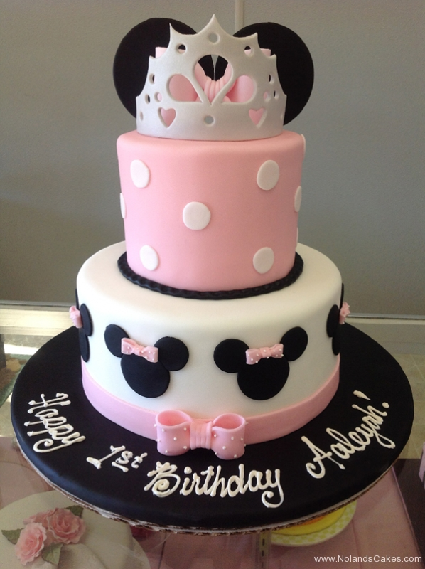 2166, first birthday, 1st birthday, disney, crown, minnie mouse, mickey mouse, bow, bows, ears, dot, dots, pink, black, white, tiered