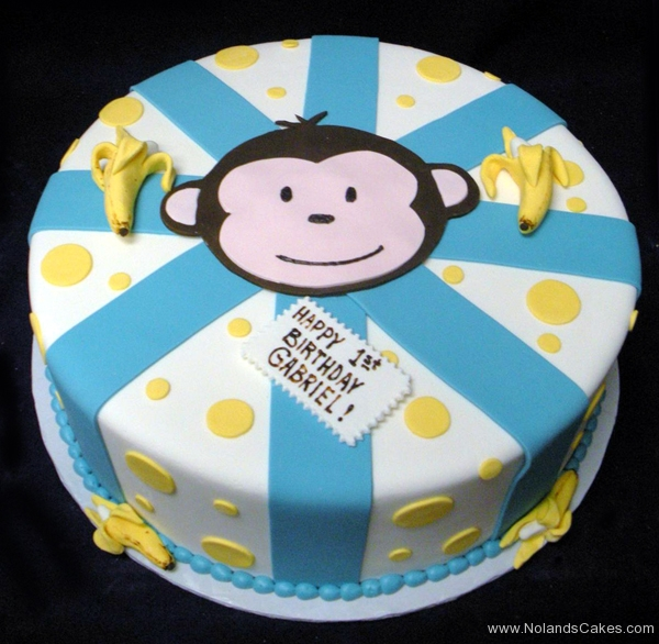 2187, 1st birthday, first birthday, monkey, banana, bananas, dot, dots, stripe, stripes, blue, white, face