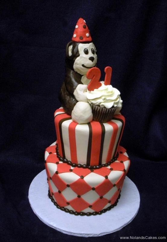 2189, first birthday, 1st, 2nd, 21st, second, twenty-first, monkey, red, black, white, stripe, stripes, diamond, diamonds, cupcake, figure, tiered