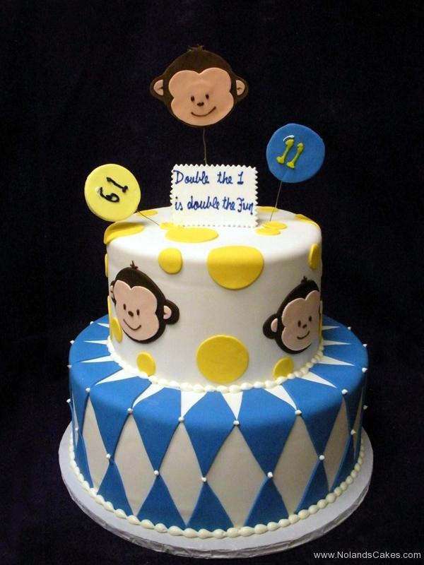 2193, first birthday, 1st, 11th, eleventh, monkey, white, yellow, blue, diamonds, diamond, tiered