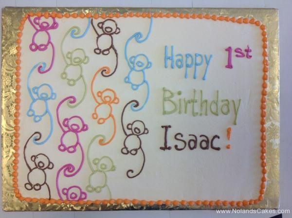2191, first birthday, 1st birthday, barrel of monkeys, blue, pink, green, white