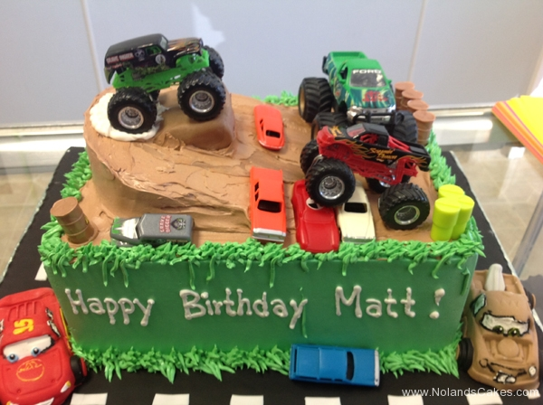 2199, birthday, monster struck, trucks, cars, dirt grass, mud, carved, green, brown, mater, lightning mcqueen