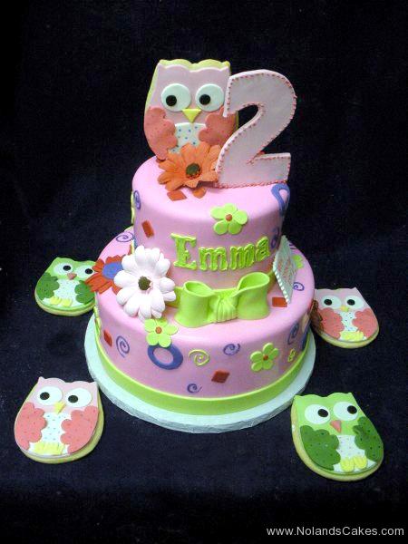 2232. second birthday, 2nd birthday, owl, owls, flower, flowers, pink, green, purple, cookie, cookies, tiered