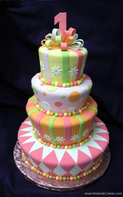 2240, first birthday, 1st birthday, flower, flowers, dot, dots, stripe, stripes, diamond, diamonds, orange, yellow, green, bow, bows, tiered