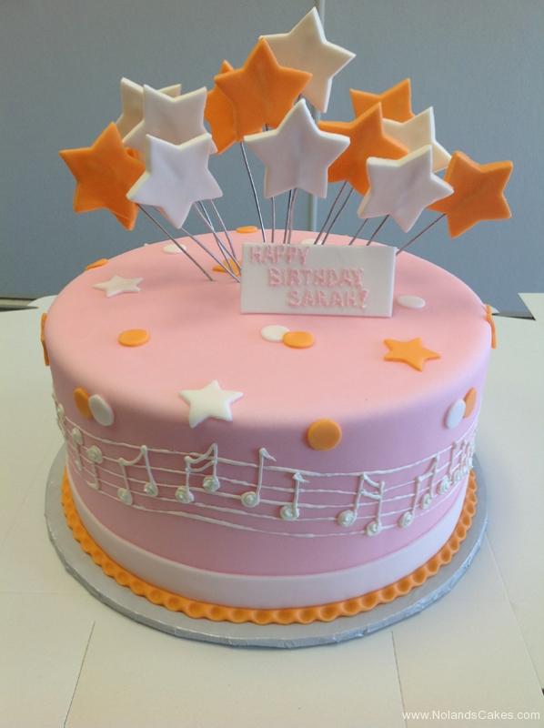 2243, birthday, music, notes, star, stars, dot, dots, orange, white, pink