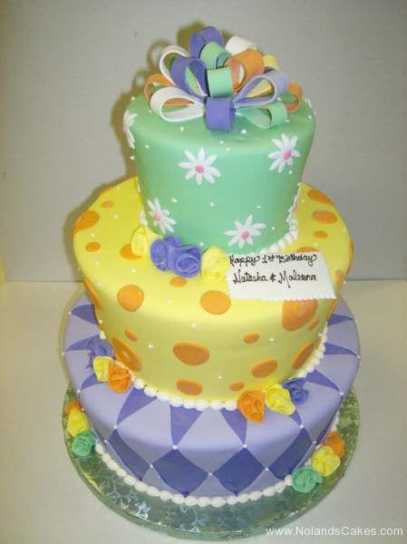 2248, first birthday, 1st birthday, flower, flowers, dot, dots, diamond, diamonds, bow, bows, green, yellow, orange, purple, white, tiered