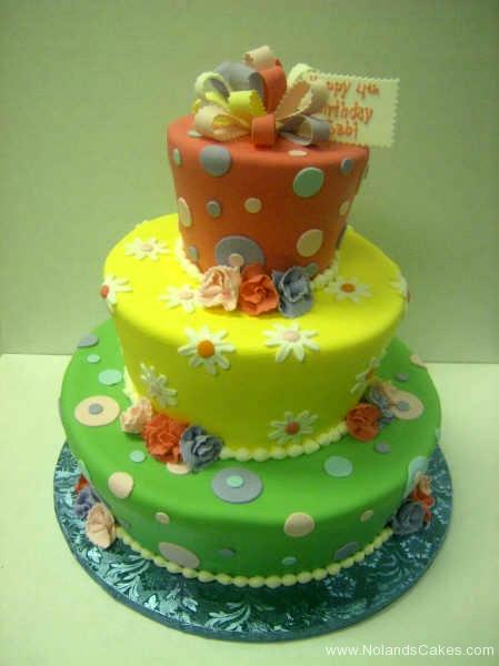 2247, fourth birthday, 4th birthday, flower, flowers, dot, dots, orange, red, yellow, green, tiered