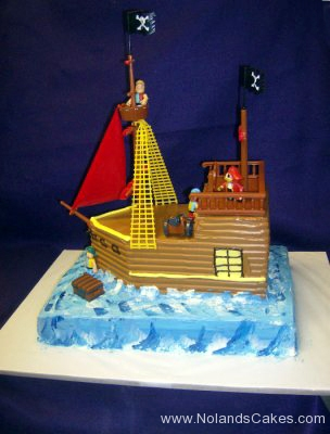 2262, birthday, pirate ship, pirate, ocean, sea, water, pirates of the caribbean, blue, brown, red, ship, carved