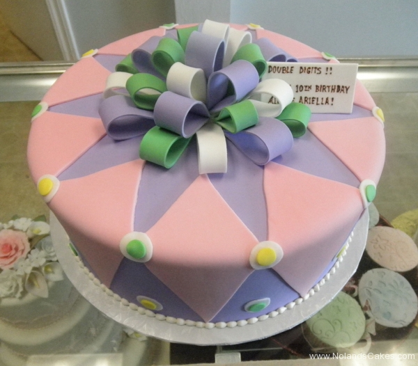 2288, tenth birthday, 10th birthday, diamond, diamonds, pink, purple, white, green, dot, dots, bow, bows
