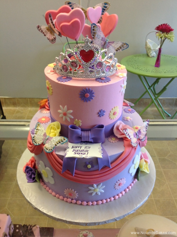 2292, 5th birthday, fifth birthday, flower, flowers, butterfly, butterflies, bow, bows, heart, hearts, crown, tiara, pink, purple, tiered