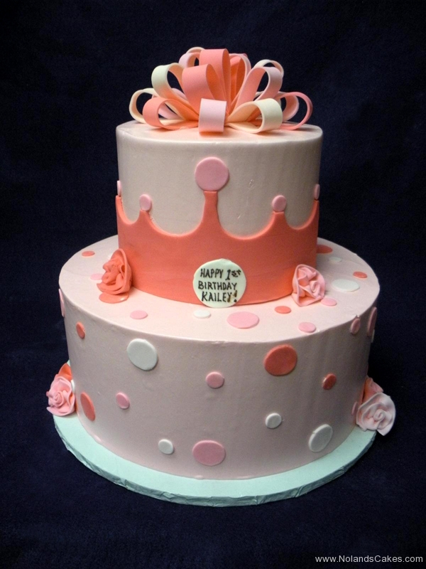 2290, 1st birthday, first birthday, pink,  white, flower, flowers, bow, bows, dot, dots, crown, tiara, princess, tiered