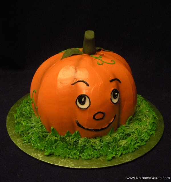 2297, birthday, pumpkin, Halloween, orange, green, grass, carved