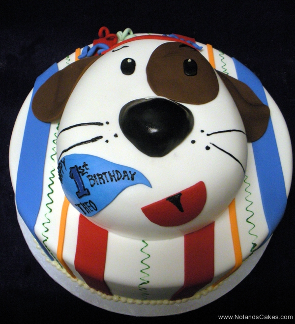 2300, first birthday, 1st birthday, puppy, dog, doggy, stripe, blue, yellow, red, brown, carved, tiered