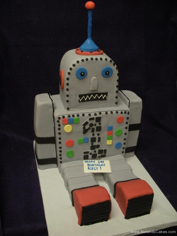 2309, first birthday, 1st birthday, robot, gray, grey, carved