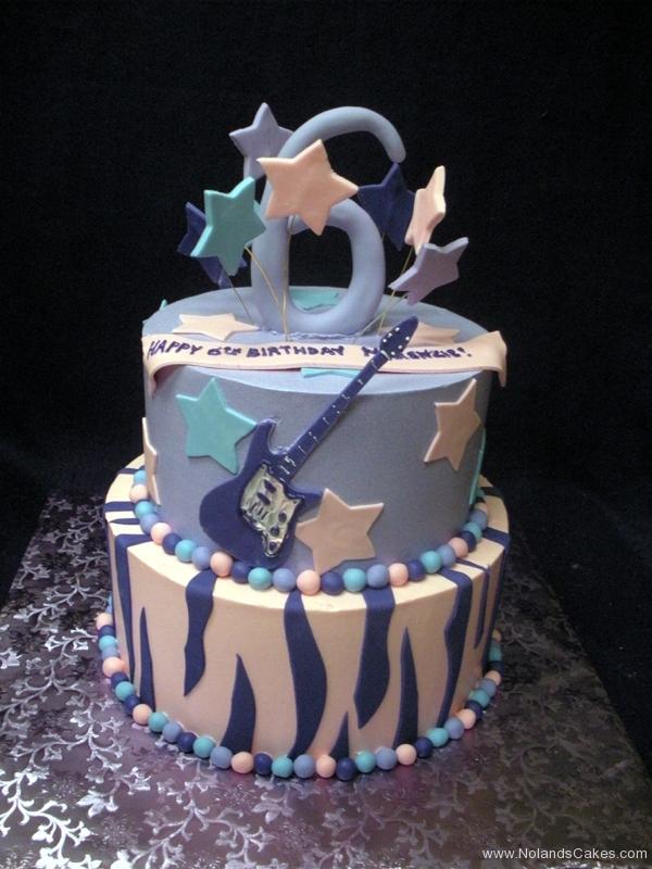 2317, sixth birthday, 6th birthday, guitar, music, star, stars, tiger stripe, purple, pink, blue, tiered
