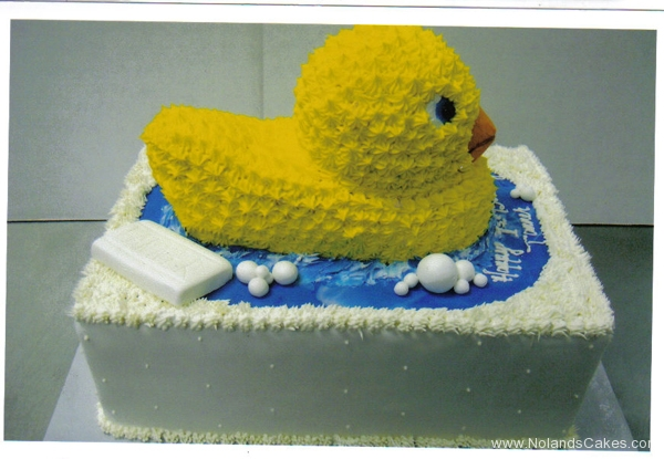 2324, first birthday, 1st birthday, rubber duck, rubber duckie, soap, bath, bathtub, water, yellow, blue, white, tiered, carved
