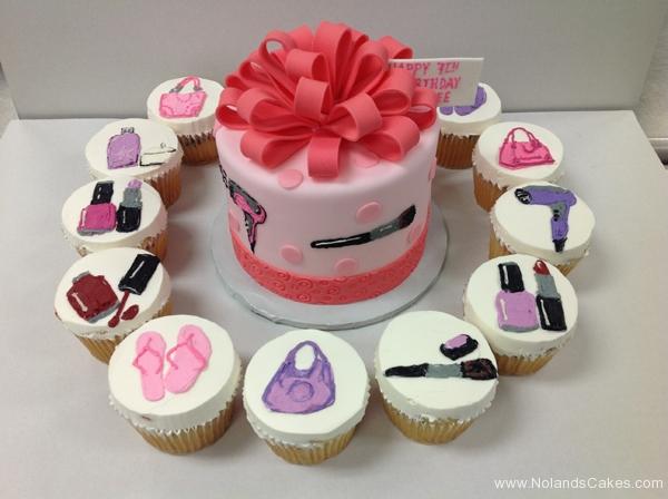 2332, 7th birthday, seventh birthday, beauty, makeup, pink, purple, manicure, pedicure, hair, nail polish, purse, fashion, bow, bows, cupcakes