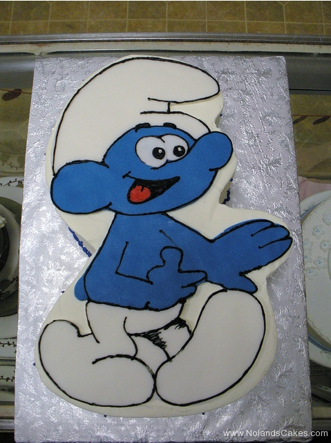 2347, birthday, smurf, smurfs, blue, white, carved