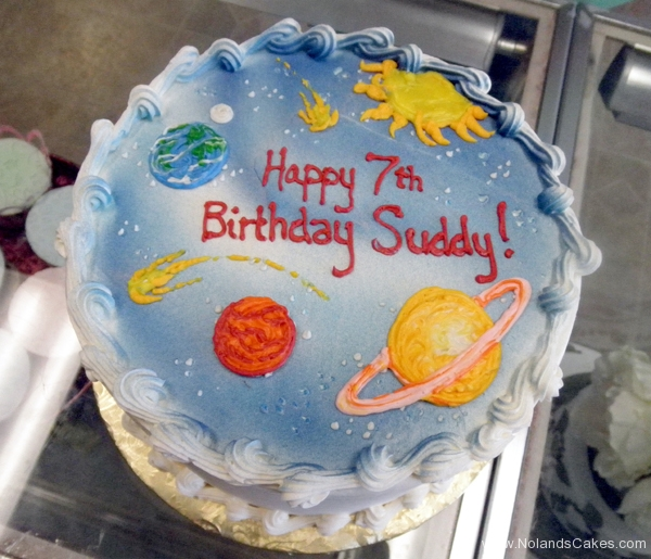 2355, 7th birthday, seventh birthday, outer space, planet, planets, solar system, cosmos, blue, yellow, orange