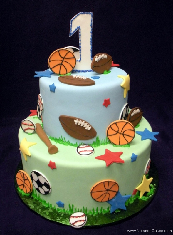 2371, first birthday, 1st birthday, sports, football, baseball, soccer, basketball, star, stars, red, blue, tiered