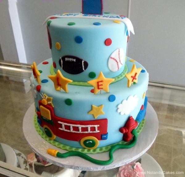 2375, first birthday, 1st birthday, sports, football, baseball, soccer, basketball, star, stars, fire truck, weeoo, red, blue, tiered