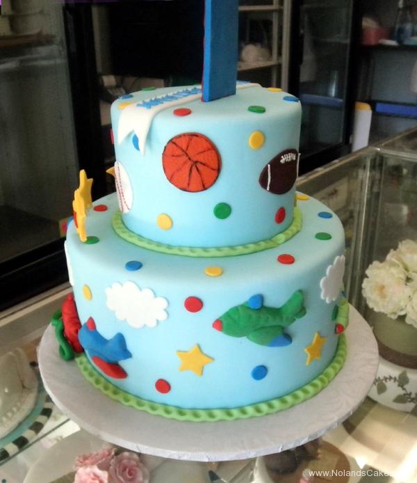 2380, first birthday, 1st birthday, sports, football, baseball, soccer, basketball, star, stars, plane, airplane, red, blue, tiered