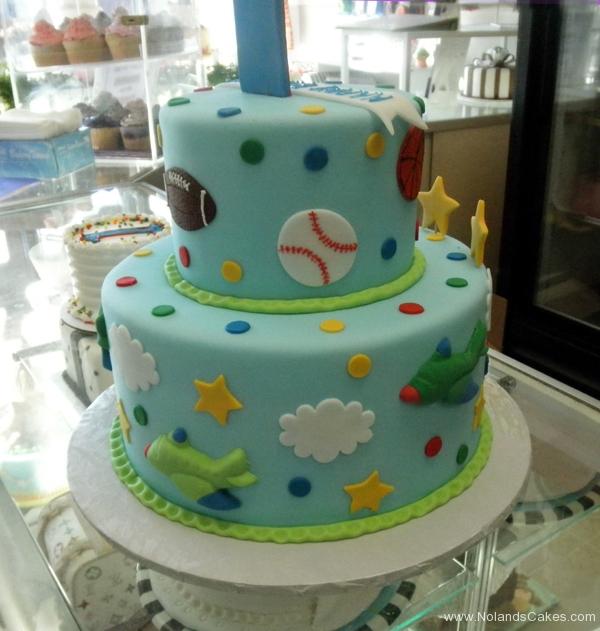 2377, first birthday, 1st birthday, sports, football, baseball, soccer, basketball, star, stars, plane, airplane, red, blue, tiered