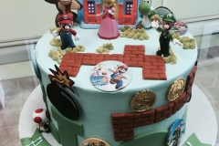 2981, 7th birthday, seventh birthday, video game, video games, donkey kong, mario, luigi, princess peach, toad, yoshi, edible image, blue, green