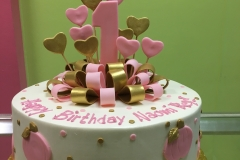 2982, first birthday, 1st birthday, heart, hearts, bow, bows, ribbon, dot, dots, pink, gold, white