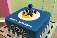 2984, tenth birthday, 10th birthday, race, race car, go kart, go karts, blue, white, figure, yellow