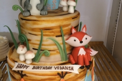 2986, birthday, woodland creatures, fox, raccoon, mushroom, mushrooms, animal, animals, grass, brown, green, figure, figures, tiered