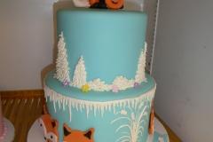 3041, eighth birthday, 8th birthday, fox, foxes, foxen, winter, blue, white, snow, orange, figure, figures, tiered, flower, flowers
