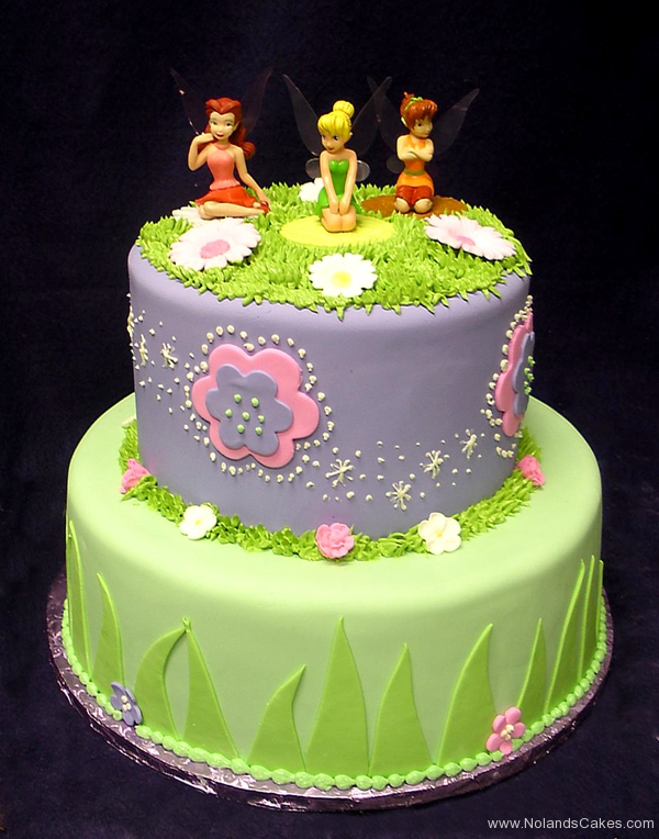 2428, birthday, fairy, fairy princess, tinkerbell, peterpan, flowers, flower, pruple, grass, pink, green,  tiered