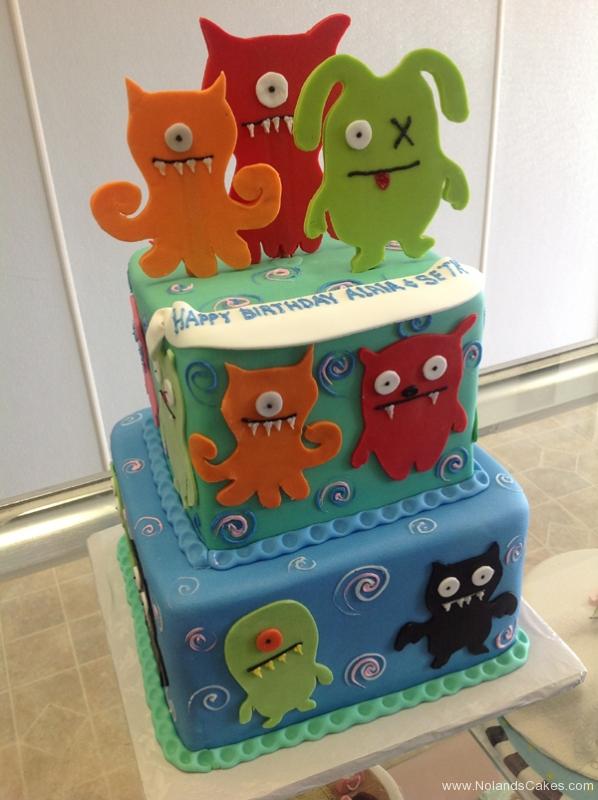 2459, birthday, ugly dolls, cartoon, blue, orange, red, green, pink, tiered