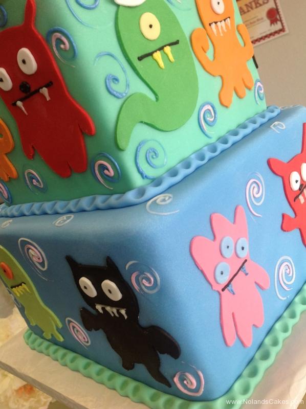 2462, birthday, ugly dolls, cartoon, blue, orange, red, green, pink, tiered