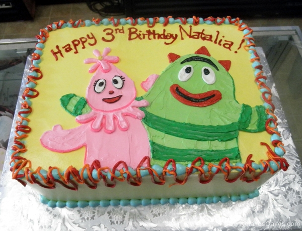 2496, 3rd birthday, third birthday, yo gabba gabba, foofa, brobee, green, pink, yellow