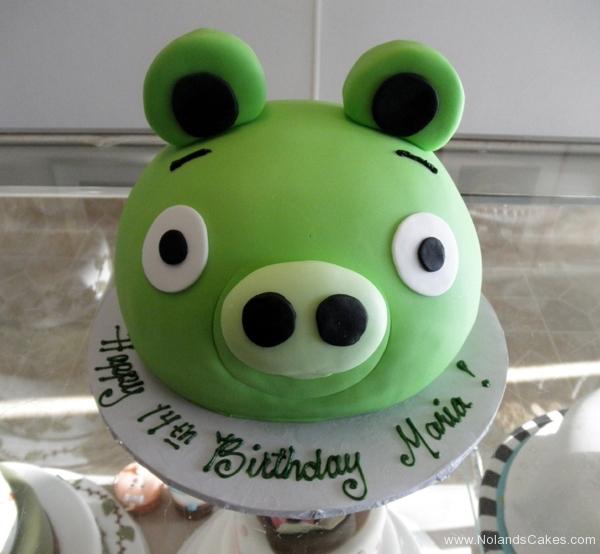 171, angry birds, birthday, 14th birthday, fourteenth birthday, carved cake, pig, piggy, piggies, green