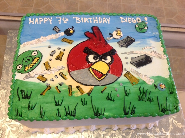 165, 7th birthday, seventh birthday, angry birds, red, blue, green, pigs, piggies, video game