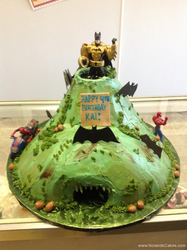 203, birthday, 4th birthday, fourth birthday, superhero, superheroes, green, carved, batman, spiderman, batcave
