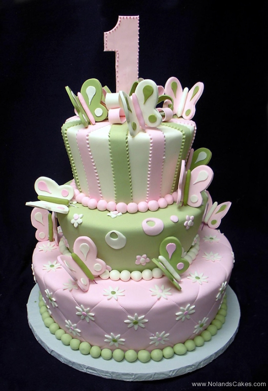 217, birthday, tiered, 1st birthday, first birthday, pink, green, white, pastel, butterfly, butterflies, bow, bows, flower, flowers