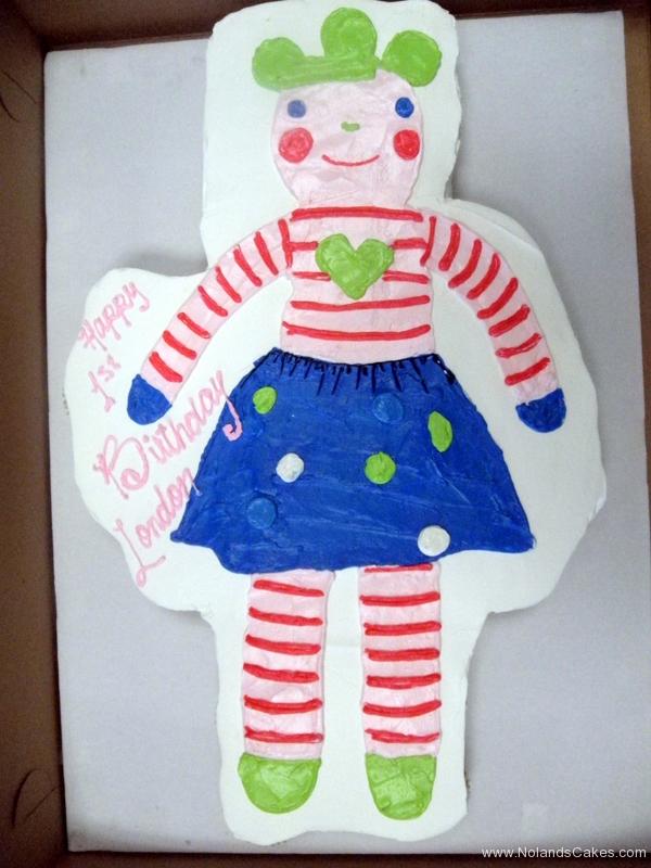 235, first birthday, 1st birthday, doll, drawing, cartoon, stripes, skirt, blue, dots