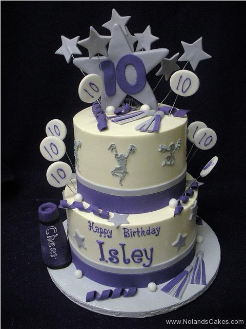 265, tenth birthday, 10th birthday, cheer, cheerleader, cheerleading, white, purple, gray, grey, silver, star, stars, tiered