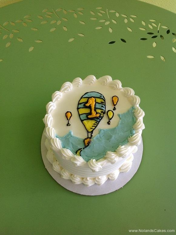 360, 1st birthday, first birthday, smash cake, balloon, hot air balloon, blue, white, yellow